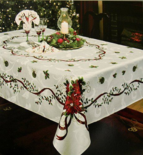 Waterford Golden Scrolls Christmas Tablecloth 70 X 126 Ivory