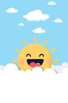 Lindo Sol Simple Fondo Dibujos De Nubes Diseno Banner Imagenes De Fondo