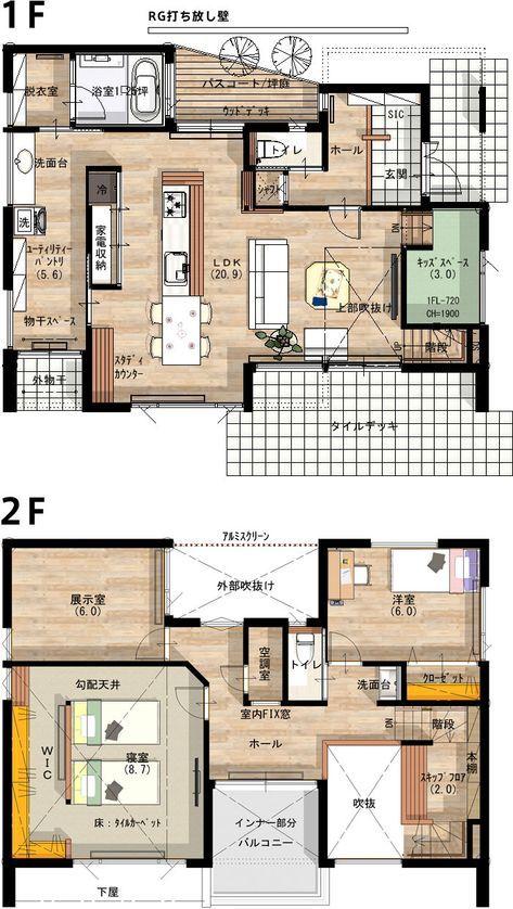 北上モデルハウスの間取り図 間取り 32坪 間取り 二世帯間取り