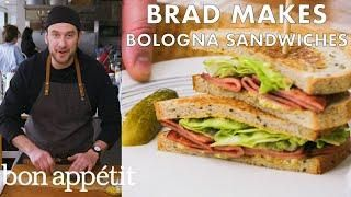 Brad Makes Fried Bologna Sandwiches From The Test Kitchen Bon Appetit Bologna Sandwich Fried Bologna Bologna Sandwich Recipes