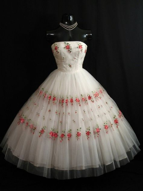 Rose Embroidered Tulle Dress, ca. 1950s Mary Carter via Vintage Vortex