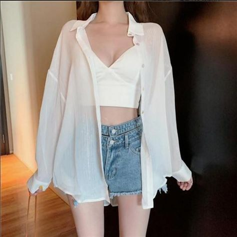 Blouses Women Summer Shirts Thin Loose See-through Sunscreen Pure Long Sleeve Sexy Womens Chiffon Korean Female New Fashion Tops - 513white / S