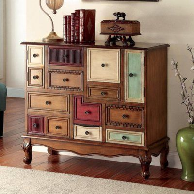 Furniture of America Cirque Vintage Style Multicolored Antique Walnut Wood Chest Decor, Wood Chest, Wood Accents, Furniture, Online Furniture Outlet, Living Room Furniture, Painted Furniture, Sofa End Tables, Furniture Of America