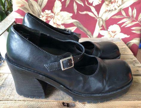 1903e39383c MUDD SHOES Black Brogue Mary Jane Grunge Chunky Heel Goth Shoe 9 M Joan   Mudd  MaryJanes  All