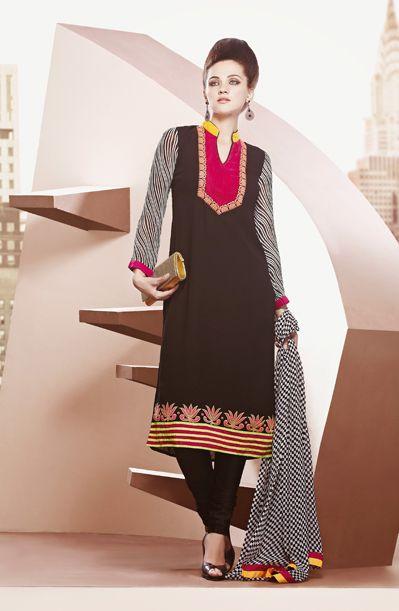 USD 94.87 Black Resham Work Party Wear Salwar Suit  36024