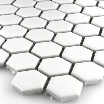 Keramik Mosaik Fliesen Waben Weiss Matt