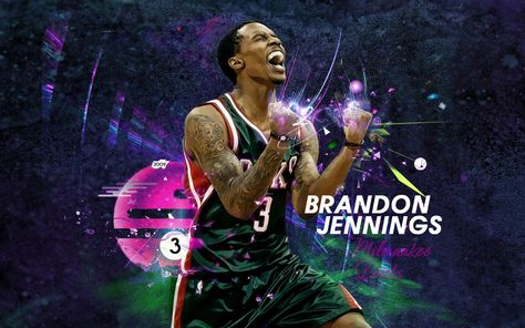 And one more for today - new widescreen wallpaper of Brandon Jennings