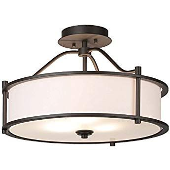 Semi Flush Ceiling Light 18 Inch 3 Light Close To Ceiling With