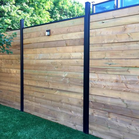 Slipfence (Common: x x Actual: x x Horizontal System Black Aluminum Wood Fence Rail at Lowe's. Add some real warmth and privacy to your yard this year with the Slipfence horizontal fence system. This aluminum channel kit combined with the Slipfence Privacy Fence Designs, Privacy Fences, Backyard Fences, Backyard Landscaping, Fenced In Backyard Ideas, Landscaping Ideas, Fenced In Yard, Driveway Fence, Luxury Landscaping