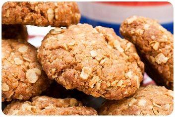 Oaty Biscuits using plain flour, Demerara sugar, porridge oats, butter, bicarbonate of soda and golden syrup.
