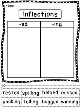 Inflectional Endings To Sort Inflections Ed And Ing Parts Of Speech Worksheets Grammar Skills Nouns And Verbs
