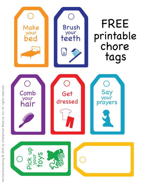 Free printable chore tags | Happy Families: Tips for Motivating Your Kids | Mormon Channel