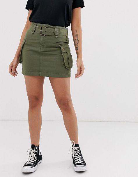 New Look Petite utility skirt in green   ASOS