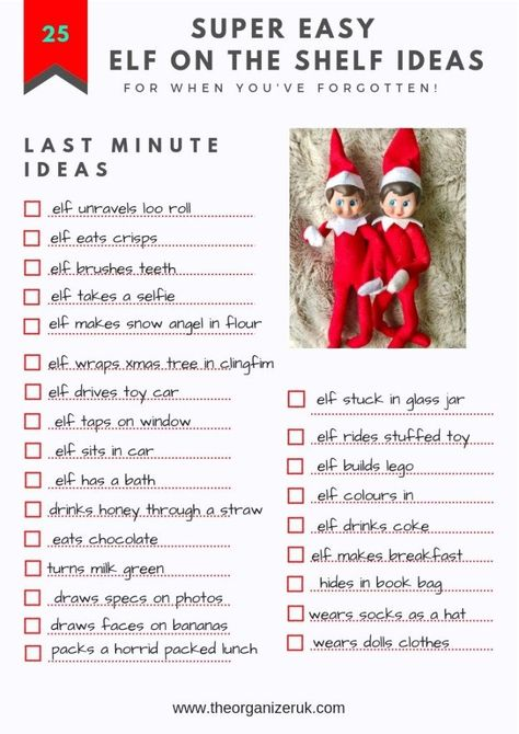 25 Last Minute Simple Elf On The Shelf Ideas. The Organizer UK