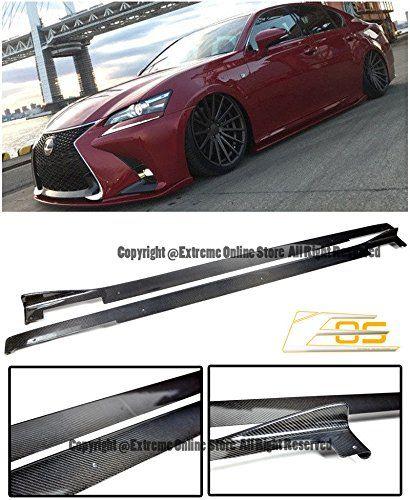 For 13-Up Ford Focus ST RS Carbon Fiber Side Skirts Hatchback Bottom Molding Lip