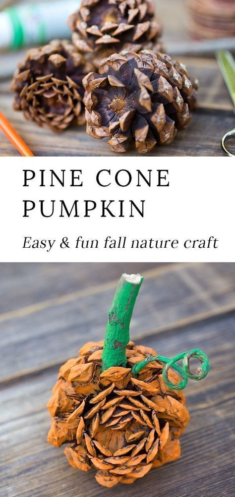 Photo of Easy Pine Cone Pumpkin Craft for Kids