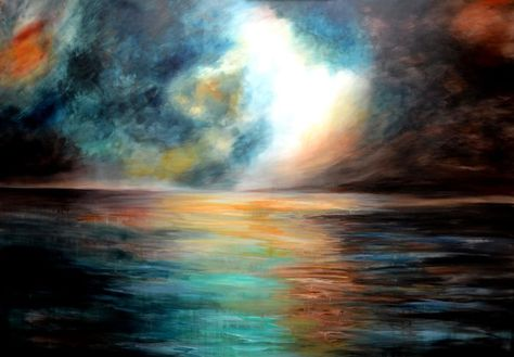 large abstract sea painting, acrylic abstract seascape