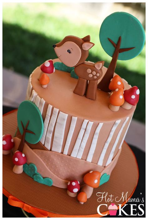 Woodland Baby Shower Cake. Awww! Fox on top instead of deer