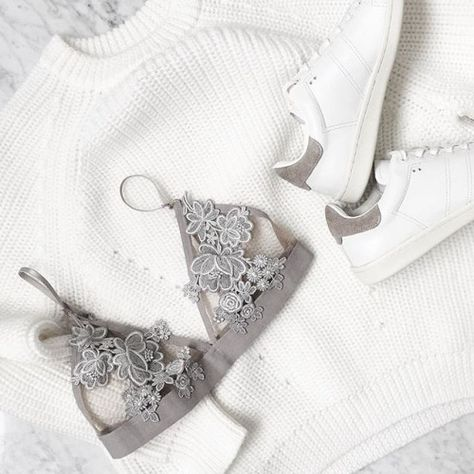 Pretty lace lingerie underneath cosy sweaters #ElevateTheEveryday
