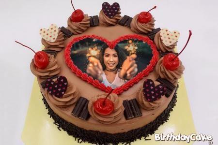 Happy Birthday Chocolate Cake With Photo Frame Happy Birthday Chocolate Cake Photo Cake Birthday Cake With Photo