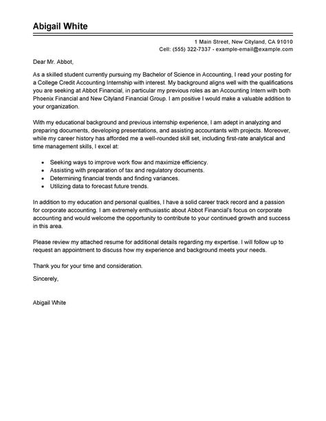 training internship college credits cover letter examples - internship proposal example