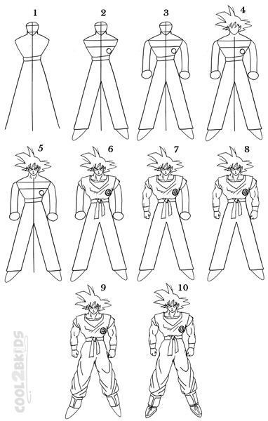 How To Draw Goku Step By Step Drawing Tutorial With Pictures Cool2bkids Goku Drawing Drawing Tutorial Dbz Drawings