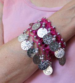 Rose gold XL armband met muntje