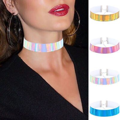 Leather Choker Necklace Pendant Chain Gothic Jewelry Punk Rainbow