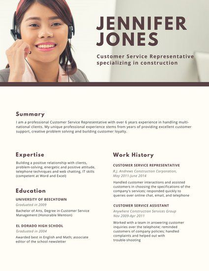 Brown Photo Header Customer Service Resume Resume Resume Template Professional Resume Builder