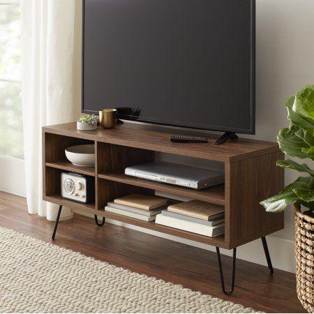 Mainstays Bennett Mid Century Hairpin Tv Stand Mid Century Modern Tv Stand Modern Tv Stand Living Room Inspiration