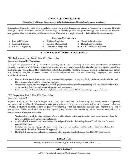 Assistant Controller Resume Examples - http\/\/wwwresumecareer - international controller resume