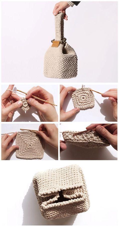 # how to knit crochet Crochet Square Bag - Free Pattern - Design Peak Crochet Diy, Crochet Tote, Crochet Handbags, Crochet Purses, Crochet Crafts, Crochet Stitches, Free Crochet Bag, Crochet Edgings, Cross Stitches