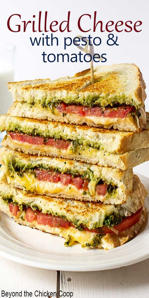 Pesto Grilled Cheese are gourmet grilled cheese sandwiches made with pesto, garden fresh tomatoes and two kinds of cheese! Pesto Grilled Cheese are gourmet grilled cheese sandwiches made with pesto, garden fresh tomatoes and two kinds of cheese! Gourmet Sandwiches, Grill Sandwich, Healthy Sandwiches, Grilled Cheese Sandwiches, Panini Sandwiches, Grilled Sandwich Ideas, Mayonnaise Sandwich, Grill Cheese Sandwich Recipes, Sandwiches For Lunch