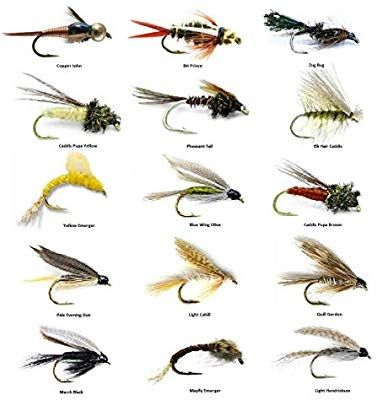 Pack of 5 Assorted Fly Fishing Trout Flies Bead Head Nymph Dry//Wet Flies