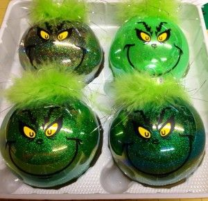 Grinch Christmas Ornaments Kids can swirl green glitter paint inside and glue on the grinch face