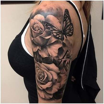35 Ideas Tattoo Girl Sleeve Black And White Tat For 2019 Tattoo Tattoos Rose And Butterfly Tattoo Sleeve Tattoos