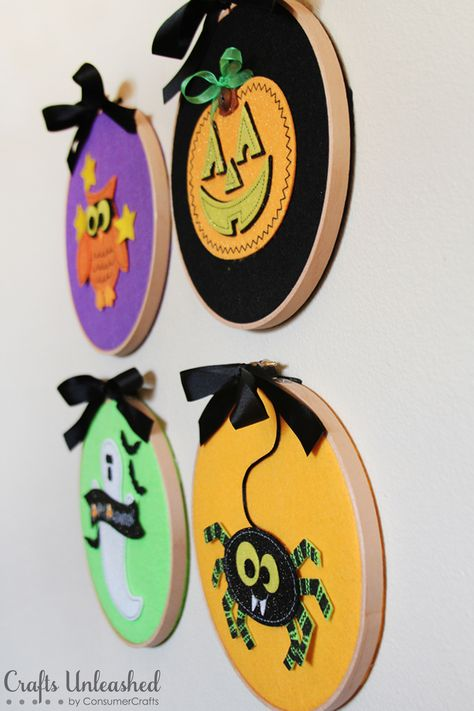 DIY Halloween Felties Wall Hangers - I've been looking for other ideas for embroidery wall art and i think using felt could be applied to an intricate cut felt picture cut like a detailed applique that could be very pretty with the right colors..
