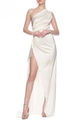 Tek Omuz Askili Bej Saten Elbise Beige Satin Dress By Lexi 2020 Elbise Aksamustu Giysileri Bej Elbiseler