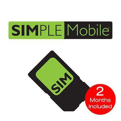 Sim Cards 29778 Simple Mobile Nano Sim Card Prepaid 2 Months