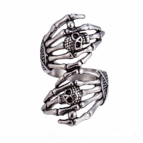 Dawapara stainless steel skull rings for women full finger ring men