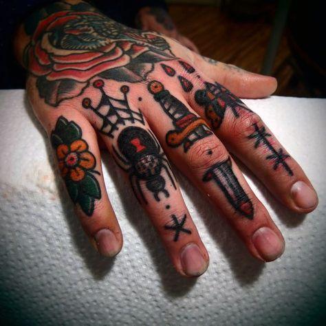 Old School Knuckle Tattoo Designs For Gentlemen