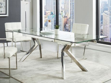 Table A Manger Extensible Velika Verre Trempe Metal 6 A 8