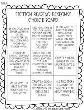 Reading Response Choice Boards Fiction Nonfiction Reading