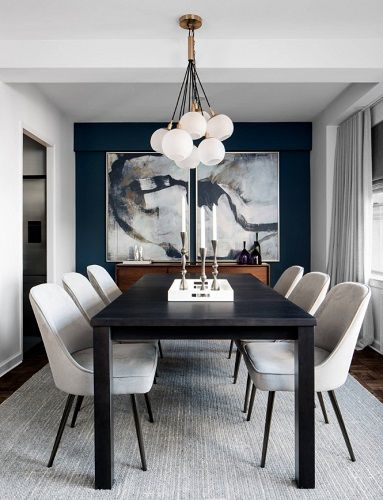 Get The Look Building A Formal Dining Room With A Posh Contemporary Feel Small Dining Room Decor Dining Room Small Mid Century Dining Room