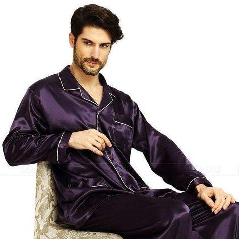 Mens Silk Comfortable Satin Pajamas Sleepwear All-Season Set in 2019 ... 614160264