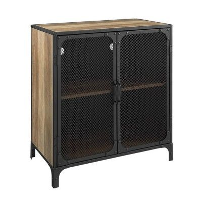 30 Industrial Accent Cabinet With Mesh Rustic Oak Saracina Home