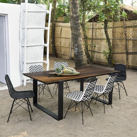 Aluminium and Composite 6-Seater Garden Table W 200 cm ...