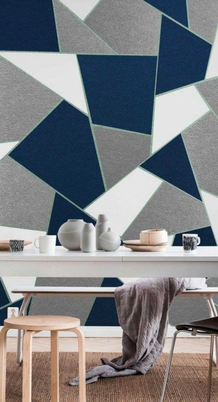 Color Trends 2021 Starting From Pantone 2020 Classic Blue Geometric Wall Paint Navy Blue Walls Blue Geometric Wallpaper