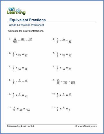 Equivalent Fractions Worksheet Fifth Grade Equivalent Fractions Fractions Worksheets Fractions Equivalent fraction worksheets 5th grade