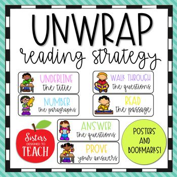 UNWRAP Reading Strategy Posters And Bookmarks TPT Sisters
